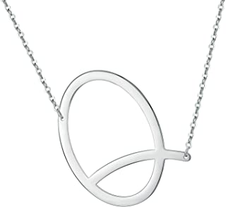 IEFWELL Sideways Initial Necklace for Women - Stainless Steel Large Big Initial Letter Necklace White Gold Plated Crooked Oversized Letter Initial Necklace for Women Girls