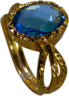 Jewelryonclick Gold Plated Engagement Ring Blue Topaz CZ Gemstone Women Gift Jewelry Size 4-12