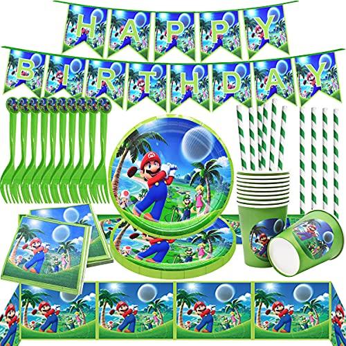 Miotlsy Super Mario Juego de fiesta de cumpleaños Juego de fiesta Super Mario Platos Tazas Servilletas Cubiertos Banner Mantel Vajilla de cumpleaños Kit de decoración ,para niños Fiesta de cumpleaños