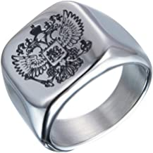 JAJAFOOK 316L Stainless Steel Russian National Flag Male Ring Double-Headed Eagle Logo Ring for Mens