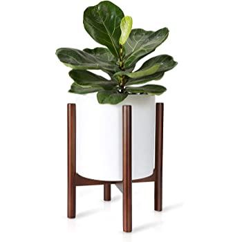 Mkono Plant Stand Mid Century Wood Flower Pot Holder (Plant Pot NOT Included) Potted Stand Indoor Display Rack Rustic Decor, Up to 10 Inch Planter, Dark Brown