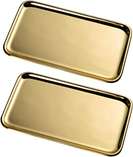 IMEEA Small Rectangle Serving Tray for Kitchen Bathroom SUS304 Stainless Steel, 20.5 x 11.5cm, 2-Piece (Gold)