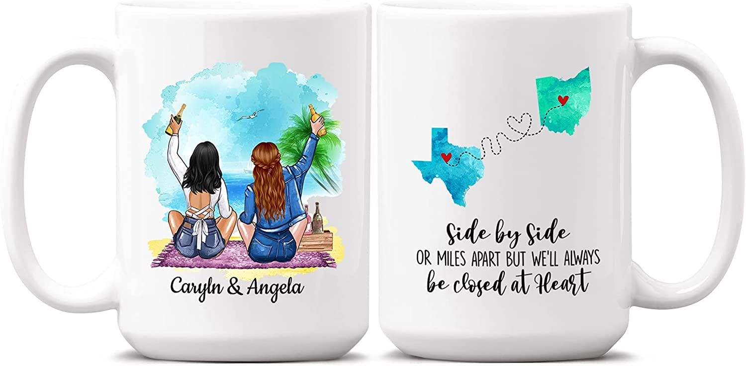 Custom Long Distance Friendship Mug Miles Side Or By Super popular specialty cheap store Apart