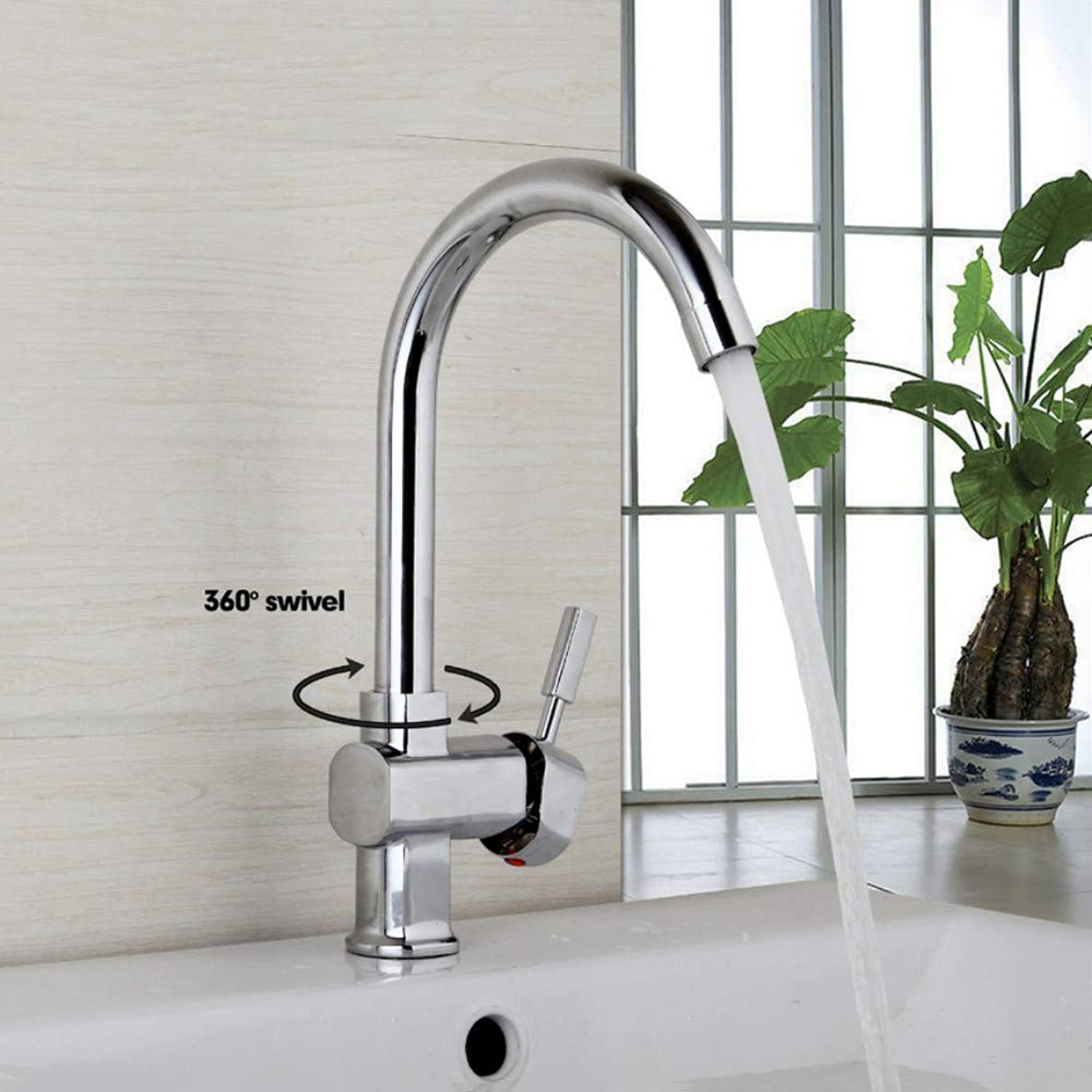 New 360 Swivel New Design Kitchen Sink Faucet Deck Mounted Taps Polish Chrome Finish Hot & Cold Water Mixer Stream Spout