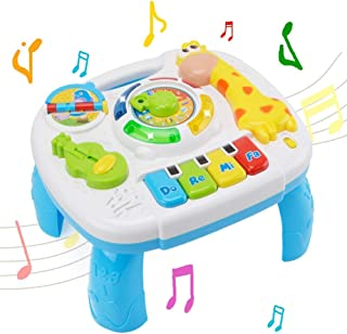 WISHTIME Toddler Learning Table Music Toy 2 in 1 Early Education Toys Music Activity Center Table for Kids Babies Toddler Boys Girls 18+ Months