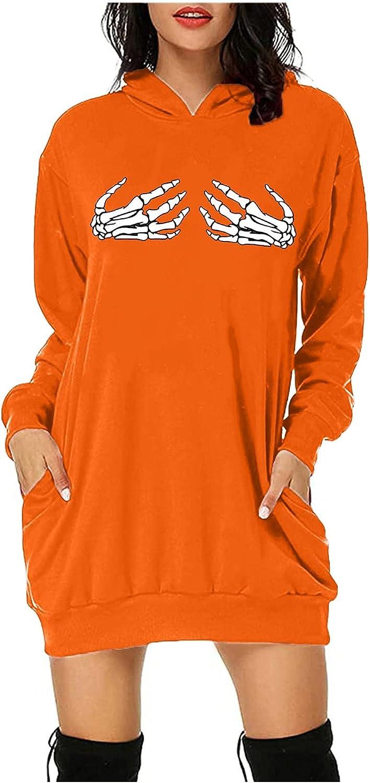 Zainafacai Womens Hoodies Dress Halloween Skeleton Graphic Baggy Long Sleeve Pullovers Sweatshirt Goth Jacket with Pockets