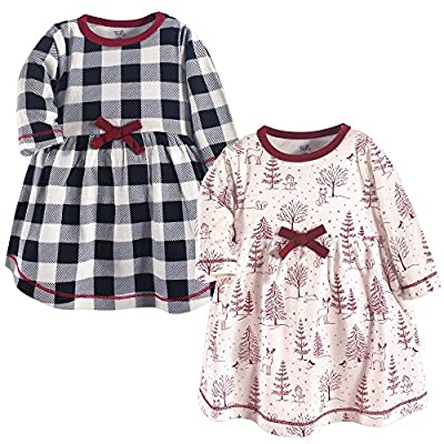 Touched by Nature Girls' Organic Cotton Short-Sleeve Dresses, Winter Woodland, 18-24 Months