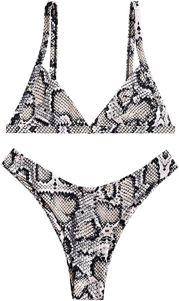 ZAFUL Bikini Leopard High Cut Padded Bathing Suits for Women