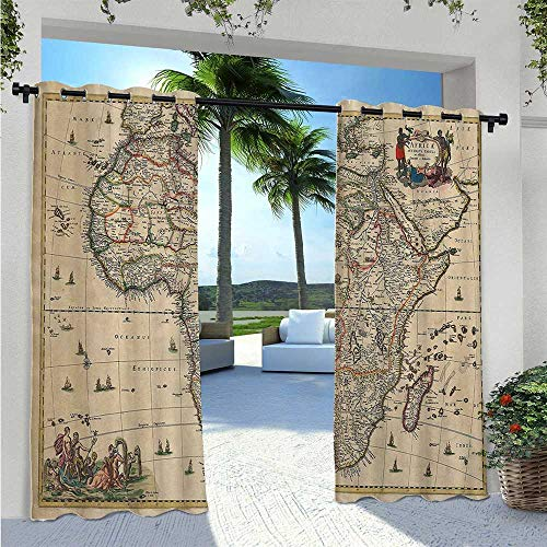 Adorise Patio Curtain Old Map of Africa Continent Ancient Historic Borders Rustic Manuscript Geography Image Waterproof Outside DéCor for Proper Look and Fullness Ivory W55 x L63 Inch