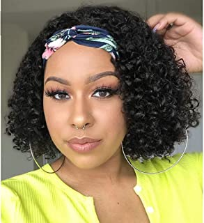 Deep Curly Headband Wig Human Hair Bob Wig for Black Women None Lace Front Wigs Human Hair 150% Density 12 Inch