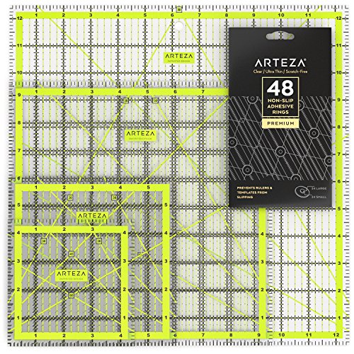 Magicfly Acrylic Quilters Ruler Set of 4 48 Non-Slip Rings /& 20Pcs Sewing Clips 4.5x4.5, 6x6, 9.5x9.5, 12.5x12.5 Transparent Quilting Ruler with Double-Colored Grid Lines