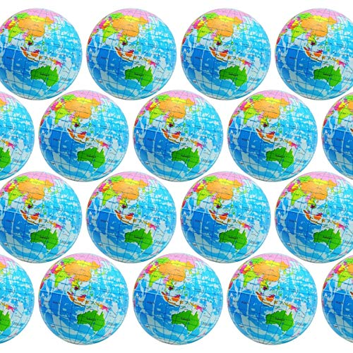 Globe Squeeze Stress Balls Earth Ball Stress Relief Toys Therapeutic Educational Balls Bulk 1 Dozen 3' Stress Balls