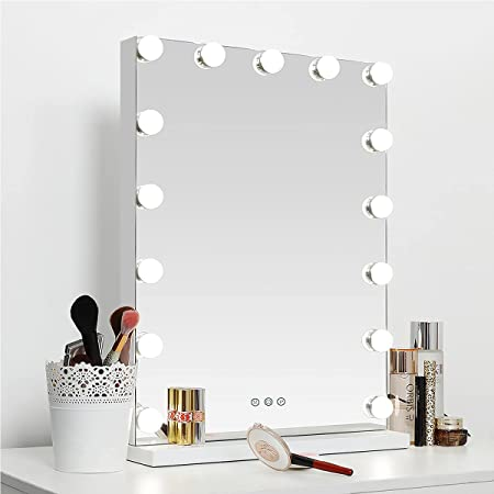 """SHOWTIMEZ Vanity Mirror with Lights Hollywood Makeup Mirror with 15 Dimmable Bulbs, Tabletop or Wall-Mounted Vanity Mirror with USB Charging Port and Smart Touch Control, 22.8"""" H x 16.9"""" W"""