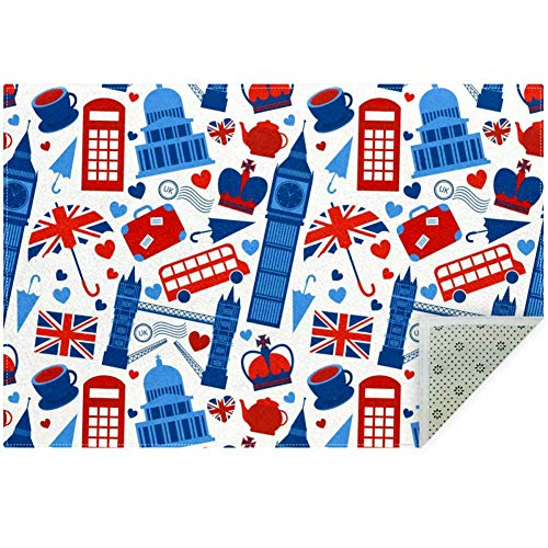 LORVIES British London - Alfombra antideslizante para salón o dormitorio, 59 x 39 pulgadas, poliéster, multicolor, 160x120cm/63x47in
