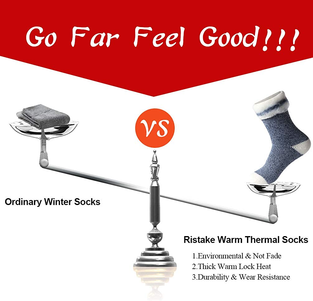 Warm Thermal Socks Ristake Men Women Winter Thick Insulated Heated Crew Socks for Cold Weather
