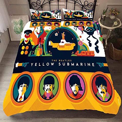 Juego de ropa de cama, funda de edredón y dos fundas de almohada de microfibra, impresión digital 3D, juego de tres piezas Beatles Rock Music Album Memorial-06_Super King 220 x 260 cm