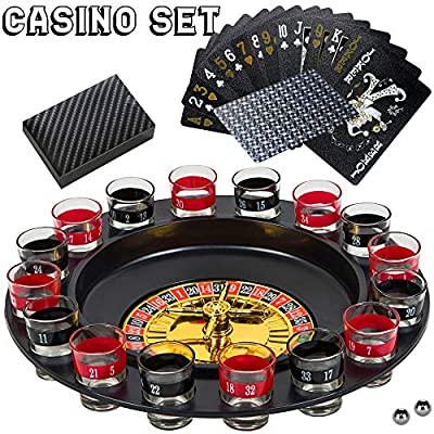 BETTERLINE Shot Glass Roulette Drinking Game and Poker Playing Cards Set - Spinning Wheel, 2 Balls and 16 Shot Glasses - Casino Adult Party Games