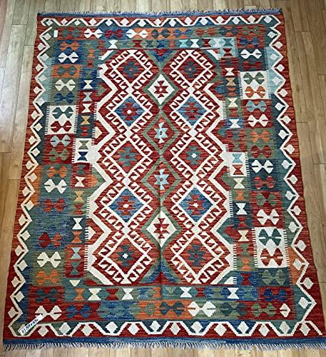 Alfombra oriental afgana, hecha a mano, de lana, colores naturales, estilo afgano, turco, nómada persa, tradicional, 159 x 199 cm, estilo vintage, pasillo y escalera reversible