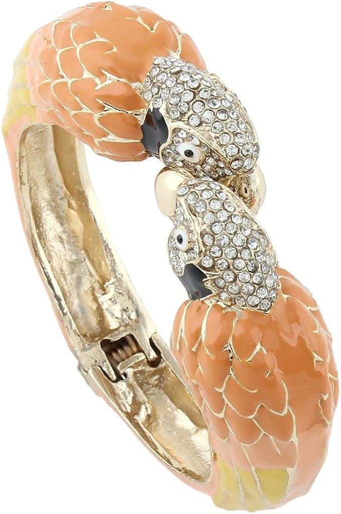 EVER FAITH Women's Austrian Crystal Enamel Parrot Bird Bangle Bracelet Gold-Tone