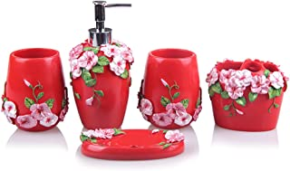 5-Piece Resin Bathroom Accessory Set with Soap Dish, Dispenser, Toothbrush Holder and Tumbler, Red