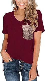 Women Summer Short Sleeve T Shirts V Neck Tunic Tops Simayixx Cute Tees Loose Sequin Henley Workout Shirts Blouses