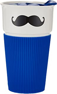 Shallow Bone China Mug with Polypropylene Lid and Silcone Sleeve - Moustache Design JZ031