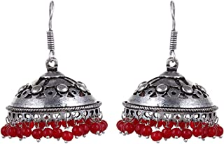 Sansar India Oxidized Jhumka Jhumki Indian Earrings Jewelry for Girls and Women
