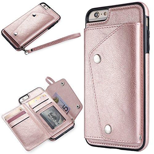 WIWJ [Nicht für iPhone 6/6S] iPhone 6 Plus Hülle,iPhone 6S Plus Leather Handyhülle, Wallet Case Modisch Leder Handy Shell mit Geldbörse Schutzhüllen für iPhone 6 Plus/iPhone 6S Plus-Roségold