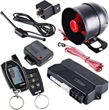 DS18 18START 2-Way Car Alarm Security Keyless Entry System & LCD Sensor Remote Engine Start System Kit Automatic w/2 Transmitters w/ 4 Button Remote Door Lock Status Indicator LED w/Trunk Pop