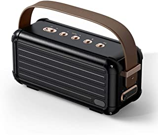 40W Superior Bass Portable Wireless Bluetooth Speaker Retro Design 6 Drivers for 25h Playtime Smart Home Decoration (Color : Black)