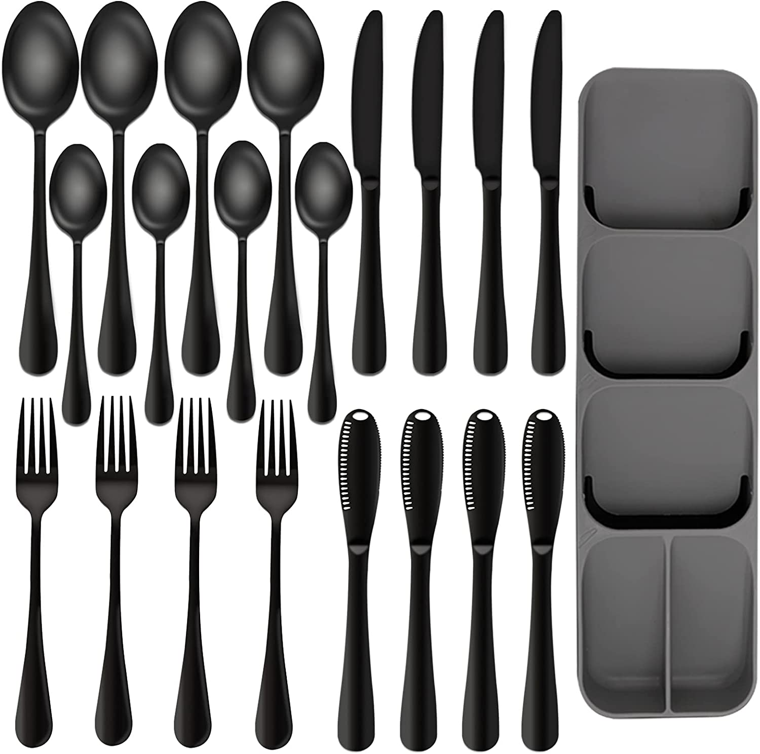 20-Piece Black Silverware Set Excellence with Tray Ansukow 5 ☆ popular 8 18 S Stainless
