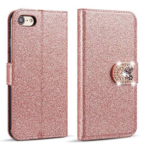 ZCDAYE Hülle für iPhone 6 Plus/6S Plus, Glitzer [Magnetverschluss][Liebe Diamant Buckle] PU Leder Flip Brieftasche Folio Tasche mit [Kartenslots] Standfunktion Schutzhülle - Roségold