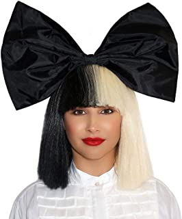 Officially Licensed Sia Costume Cosplay Wig Half Blonde Black 2 Tone Color Short Straight Bob Wig Synthetic Full Wigs with Big Bow Sia Style Wigs for Women Girls