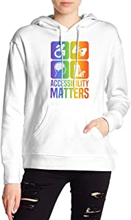VJJ AIDEAR Accessibility Matters (Rainbow) Women's Sweater Printed Hoodied Long Sleeve Coat