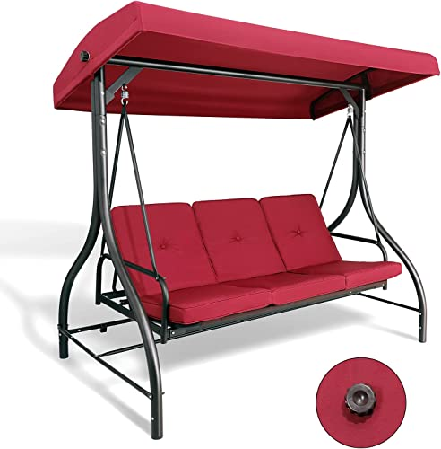 lowest Pirecart sale 3-Seater Patio Swing Chair with Canopy, Porch Swing Glider, Outdoor Weather-Resistant Swing w/Removable Cushion, Adjustable Backrest, for Garden, Poolside, Lawn, Max Load 750Lbs, online Burgundy outlet sale