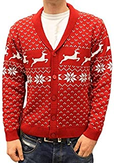 fe924d89e7f88 DenimBar.ie - Gilet - Homme Rouge Red cardigan with white pattern - Rouge -