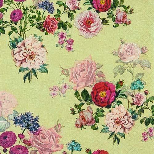 Juego de 20 servilletas vintage con diseño de flores, 33 x 33...
