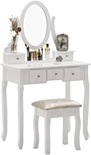 Nolany Dressing Table with Oval Mirror, Bedroom Vanity Makeup Table for Women, Wood Vanity Set with 5 Drawers Stool, White