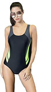 Ladies Sport One Piece Swimsuit Light Tummy Control Swimming Costume Halter Swimwear Slimming Costume Beachwear Soft and Comfortable Without Irritation (Color : Blue, Size : 18)