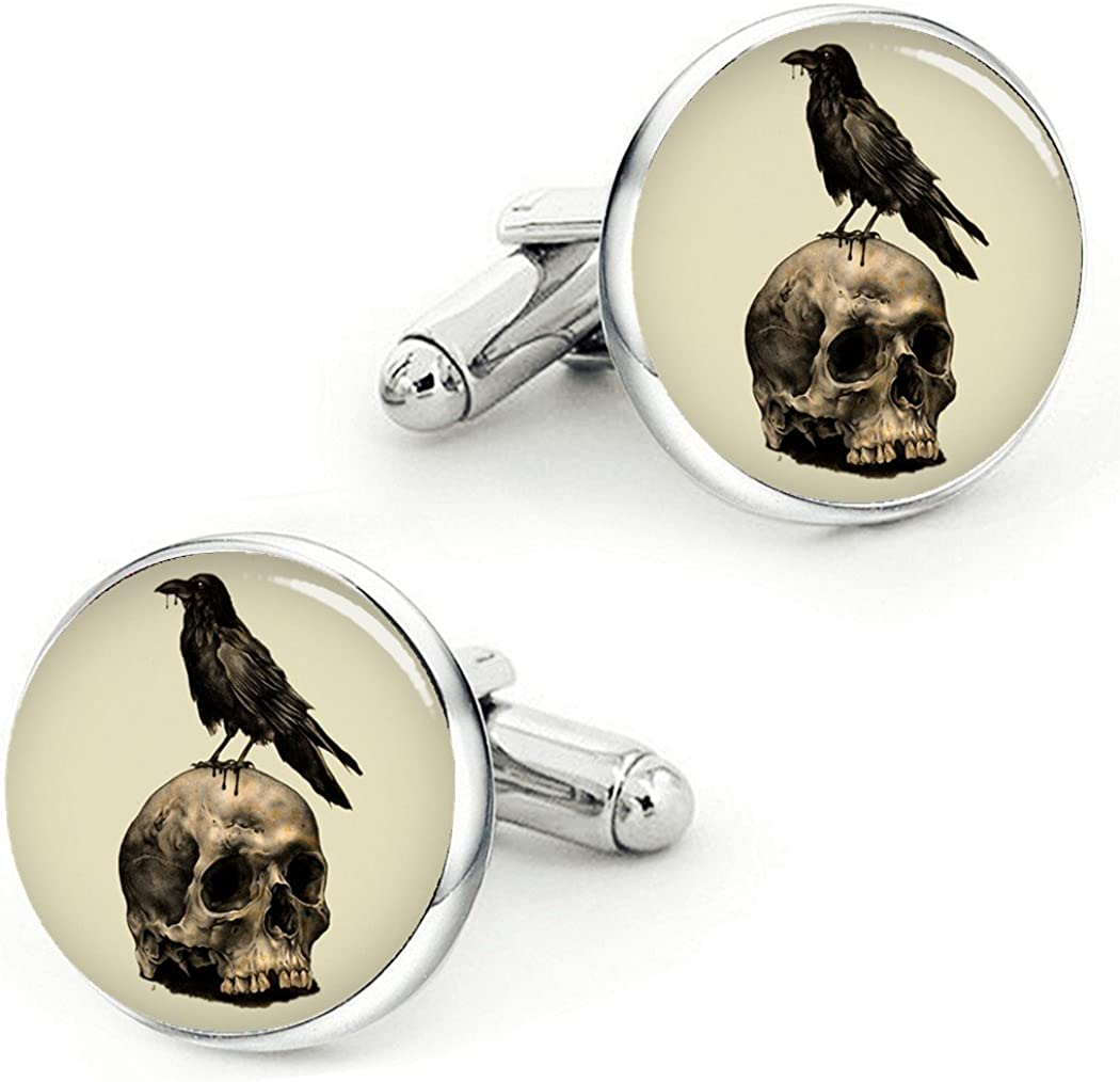 Kooer New products world's highest quality popular Vintage Raven Skull Cufflinks Cuff Weddin Crow outlet Links