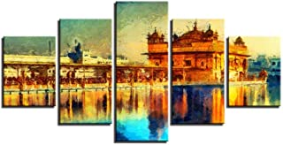 DuDuDu Wall Art for Living Room Canvas Golden Temple Print Drawing core Modern Home Bedroom Parlour Frameless