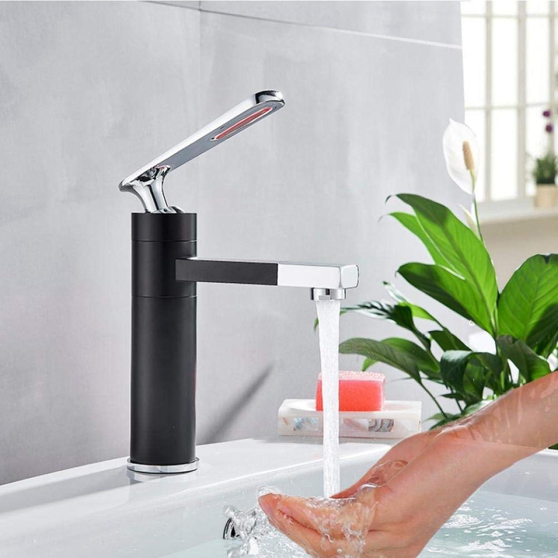 Schwarzweiss-Bassin-Hahn-hoher und kurzer Plattform angebrachter eleganter Badezimmer-Hahn-heier und kalter Wasser-Bassin-Mischer