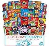Snack Care Package - Assortment of Chips, Popcorn, Crackers, Cookies, Bars, Candy & Nuts (60 Pack)