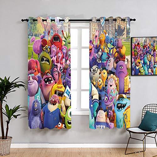 Monsters Inc Michael Wazowski Cartoon Curtains for Living Room Decorative Curtains Blackout Window Curtain for Windows Decoration W55 x L45