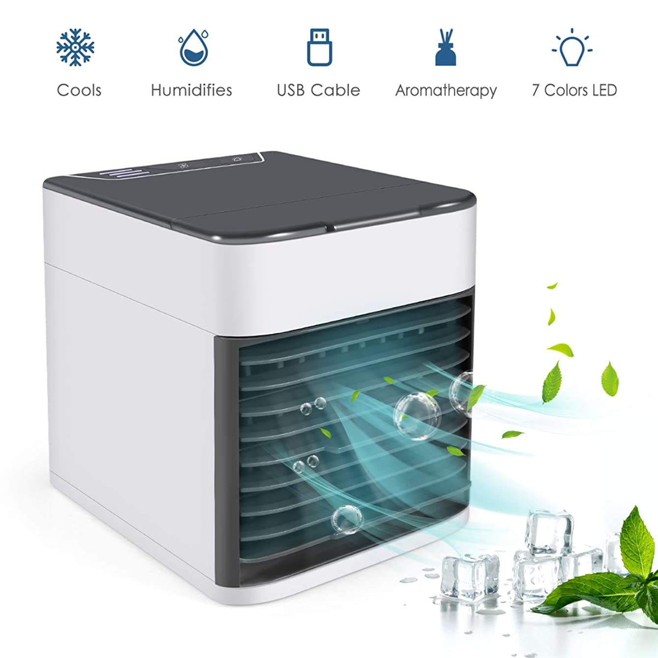 Personal Air Conditioner Fan, 4 in 1 Small Personal USB Air Cooler Mini Air Purifier Humidifier with 7-Colors LED Lights, Air Cooler Desk Fan Cooling with Portable Handle for Office Home Room