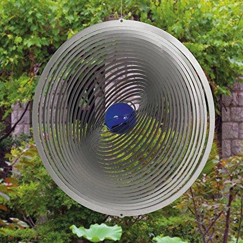 Edelstahl Windspiel – STRUDEL 300 – lichtreflektierend – Durchmesser: 30cm – inkl. Aufhängung und Glaskugel - 3