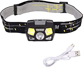 Proster Headlamp Flashlight USB Rechargeable LED LED Head Torch Inductive Headlamp Waterproof Head Light Flashlight 100 Lumens 5 Lighting Modes and 60 °Adjustment for Running Fishing Camping Hiking