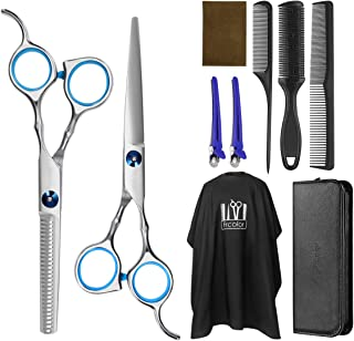 Frcolor Hair Cutting Scissors Hairdressing Thinning Shears Kit with Barber Cape Hair Thinning Cutting Combs and Black Case...