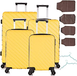 Fridtrip 4 Piece Hardside Luggage Set - 18'' 20'' 24'' 28''Travel Suitcase with Spinner Wheels - Carry On Trolley Case - F...