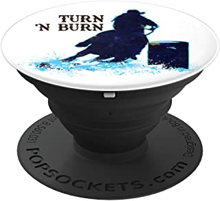 Barrel Racer Turn 'N Burn Rodeo Tin Can Chaser Lt Blue White PopSockets Grip and Stand for Phones and Tablets